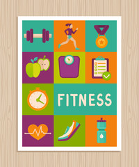 Vector set of fitness icons on greeting card