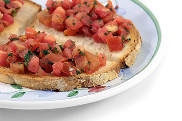 Italian bruschetta on a plate