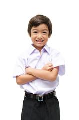 Little student boy in uniformon white background