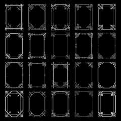 Decorative vintage frames isolated on black background