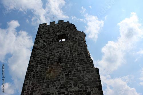Leinwanddruck Bild Ruine der Burg Drachenfels