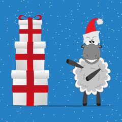 Christmas funny sheep with gifts