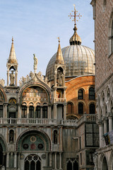Venice, detail of the St. Mark Basilica and the Ducal Palace