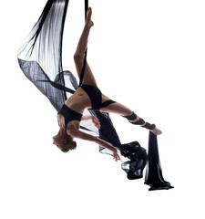 Elegant sexy dancer posing hanging on cloth