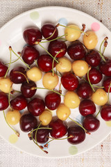 Fresh red and yellow cherries in a bowl