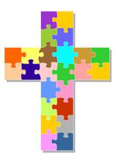 Puzzleteile bilden ein Kreuz