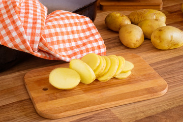 Sliced new potatoes.