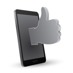 smartphone 3d thumbs up icon