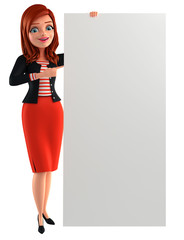 Young Corporate lady with sign