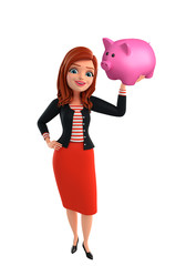 Young Corporate lady with piggy bank