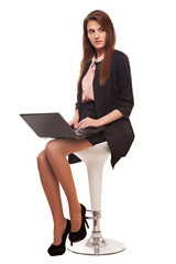 beautiful business woman smile sitting using laptop, isolated