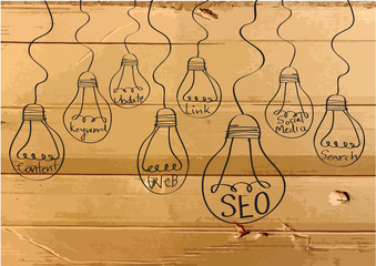 Seo Idea SEO Search Engine Optimization on Cardboard Texture ill