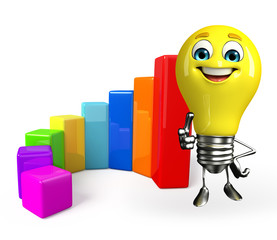Light Bulb Character with business graph