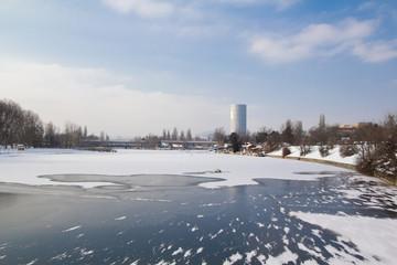 Gefrorene Alte Donau - Wien