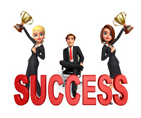 Group business people in office with success sign.