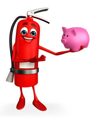 Fire Extinguisher character with piggy bank