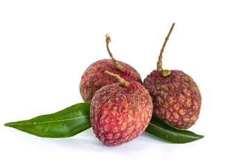 fresh litchi fruit on white background