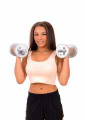 Woman lifting dumbbell's.