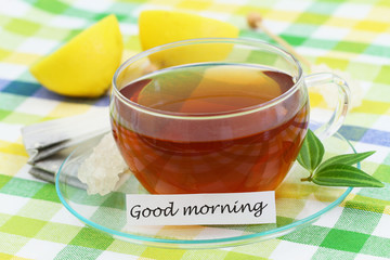 Good morning card with cup of tea and fresh lemon