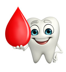 Teeth character with blood drop