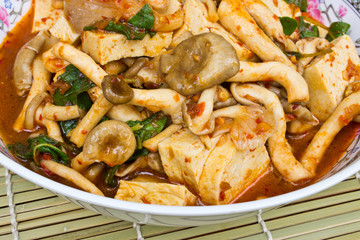 Mushroom Curry put the mushrooms and tofu
