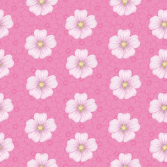 Seamless floral pattern, mallow and cosmos