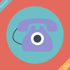 Old phone icon - vector illustration.