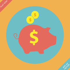 Piggy bank - saving money icon - vector