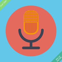 Retro microphone icon - vector illustration