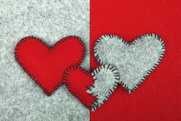 felt hearts on two different backgrounds, valentines composition