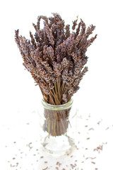 Dried lavender bouquet on the white