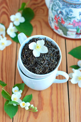Green tea leaves  with jasmine