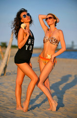 Two gorgeous swimsuit models posing on the beach.