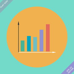 Graph icon - vector illustration. Flat design
