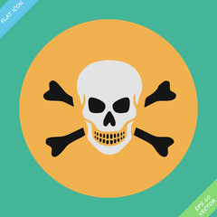 Skull and bones warning sign - vector illustration
