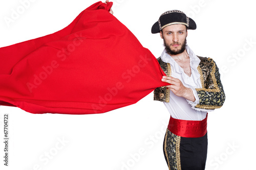 Foto op Canvas Stierenvechten Matador throwing a red cape