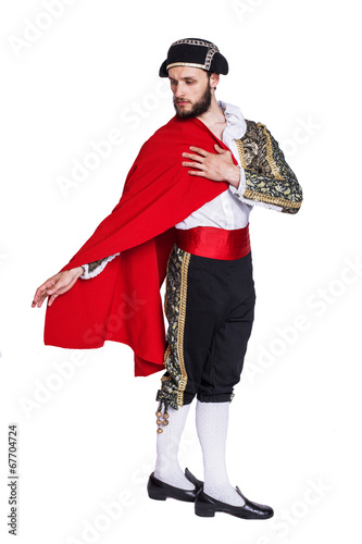 Foto op Canvas Stierenvechten Toreador with a red cape
