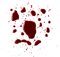 Blood drip on white background