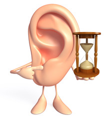 Ear character with sand clock
