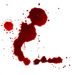 Blood stains (puddle) isolated on white background.