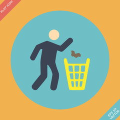 Littering sign icon - vector illustration. Flat