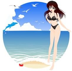 海辺と水着姿の女の子