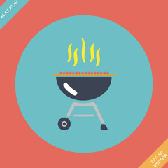 Barbecue grill icon - vector illustration. Flat