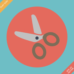 Scissors Icon - vector illustration. Flat