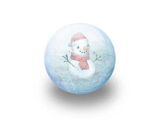 Boule de noël bonhomme de neige givré