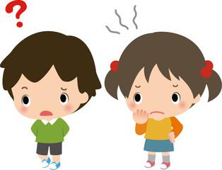 警戒心を表す男の子と女の子