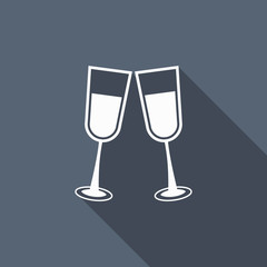 champagne glass icon with long shadow