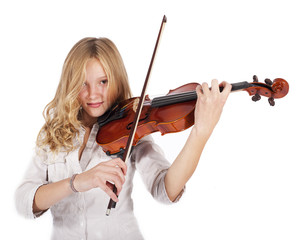 blonde girl plays on the violin