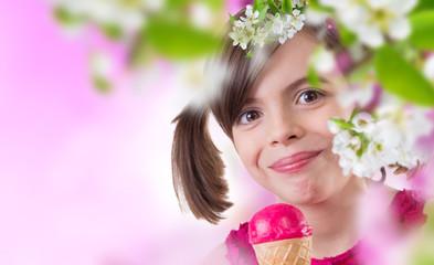 Little cute girl with ice cream