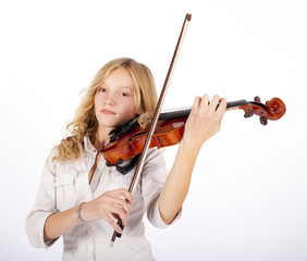blond girl plays on the violin